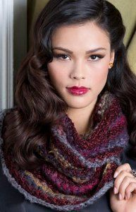 Bamboo Beauty Cowl  By: Lorna Miser for Red Heart  The deep purples and reds of The Bamboo Beauty Cowl are both elegant and sophisticated. This knit cowl pattern features the bamboo stitch, which results in a wonderfully draped, cozy cowl.