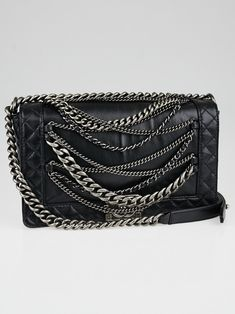 Chanel Black Leather Boy Enchained Medium Flap Bag 4df0d07ccee27