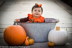 Babys First Halloween Photo, Photography, 9 months, baby girl, pumpkins, photography ideas by Danielle Jacqueline Photography, professional photographer in Surprise, Az