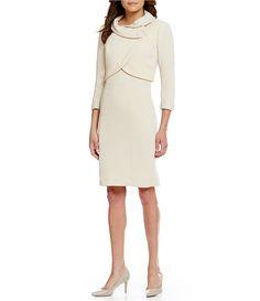 c500fff6582 Tahari ASL Pearl Trim Cropped Bolero 2-Piece Dress Suit Work Suits For  Women