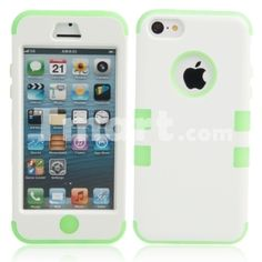 3-in-1 Silicone Protective PC Case for iPhone 5C Green + White