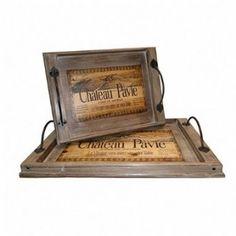 Conjunto de #Bandejas Chateau Pavie Oldway - 2 peças Madeira #cozinha  Comprar: R$ 396,99 www.carrodemola.com.br/produtos/675/conjunto-bandejas-chateau-pavie-oldway-2-pecas-madeira-e-metal-54x33-cm