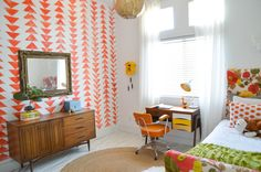 bright patterned accent wall