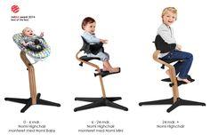 """Nomi højstol fra Evomove. Gerne med newborn indsatsen """"Nomi Baby""""."""