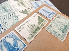 Sail Away  .. UNused Vintage Postage Stamps  .. post 5 letters by VerdeStudio on Etsy https://www.etsy.com/listing/102266767/sail-away-unused-vintage-postage-stamps