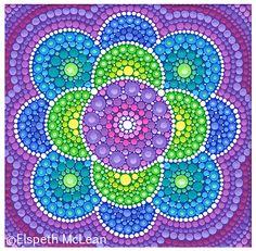 Gorgeous Flower Mandala by Elspeth McLean by Sandra MI Dot Art Painting, Mandala Painting, Mandala Art, Stone Painting, Mandala Rocks, Flower Mandala, Elspeth Mclean, Painted Rocks, Hand Painted