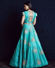 Beautiful Silk Gown with superb embroidery embellishments and detailing. Indian Designer Outfits, Designer Dresses, Indian Outfits, Kids Blouse Designs, Traditional Gowns, Ethnic Gown, Indian Gowns Dresses, Lehenga Designs, Anarkali Dress