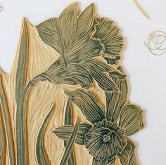 March Flower of the Month Linocut Prints, Art Prints, Block Prints, Chalk Pastels, Wood Engraving, Tampons, Art Design, Encaustic Painting, Large Art