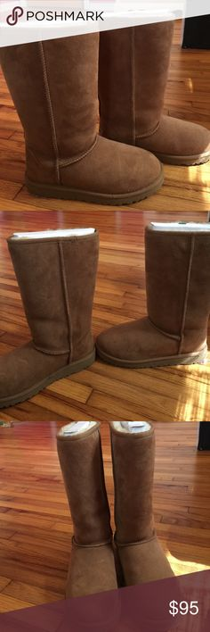 Tall classic brown ugg boots size 5! Tall classic brown ugg boots! They are a size 5 and have been worn only a handful of times. You can tell by the bottom of the shoe. The shape is still in perfect condition and the inserts to keep the boots tall are still in! They are clean, just a little dusty due to being in my closet. They appear to have a little scuff on the right shoes toe, but they can easily be cleaned! UGG Shoes Winter & Rain Boots