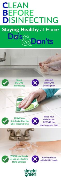 Many people correctly believe that disinfecting and cleaning naturally go hand-in-hand, but assume that disinfectants effectively clean a surface as well as eliminate germs. This is a dangerous misconception, and a shortcut which can expose your household to illness-causing pathogens. Fighting The Flu, Natural Cleaning Products, Hand Sanitizer, How To Stay Healthy, Cleaning Hacks, Keep It Cleaner, Stuff To Do, Life Hacks, Household