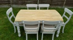 Lovely solid (heavy!) Farmhouse style table for sale. Comes with 6 matching chairs. All have been r