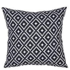 """• Made of polyester<br>• Measures 17.5""""x17.5""""<br>• Weather and fade resistant<br><br>Spice up your outdoor furniture with the 18"""" Throw Pillow in Crinkled Diamond Black from Threshold. This outdoor throw pillow resists weather and fading to stay bright and beautiful."""