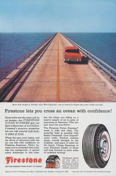 """1957 Firestone Tires Ad Red Car on Seven-Mile Bridge Florida's Key West Causeway Photo Vintage Advertising Print Wall Art Decor $9.95 USD only 1 available Size: approx. 6-3/4"""" W x 10"""" H"""
