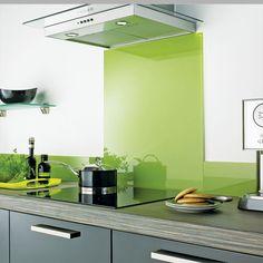 Lime green kitchen splashback