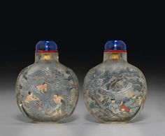 An inside-painted and incised rock crystal snuff bottle Ye Family studios…