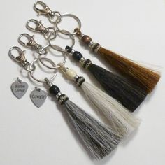 Beaded Horse Hair Tassel Keychains by #DolphinMoonCreations #keychains #horsehairtassels