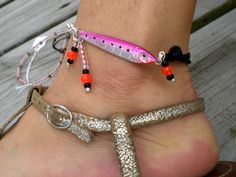 Hot pink fishing lure anklet with black cord & nautical knots, Valentine's Day. $20.00, via Etsy.
