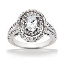 14k white gold oval double halo engagement ring with split shank available at Wheat Jewelers