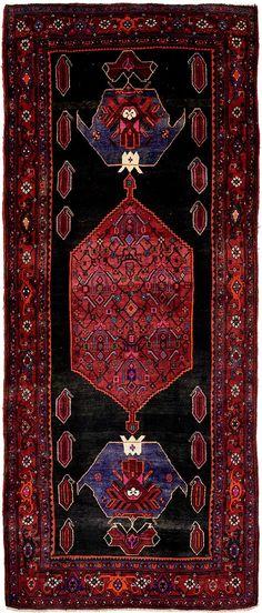 Navy Blue 4' 9 x 12' 1 Sirjan Persian Runner Rug | Persian Rugs | eSaleRugs