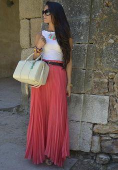 estas faldas largas plisadas te dan un toque femenino, elegante y suelto