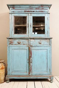 Antique Kitchen Cupboard Storage Cabinet Armoire Indian Blue Farm Chic Warm On Etsy 1 499 00