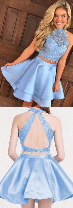 2019 Satin Homecoming Dresses A-Line Scoop Backless #Satin #HomecomingDresses #ALine #Scoop #Backless