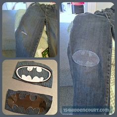 Patching boys jeans - superhero style! Don't like the jean patch but a colored one would be cool