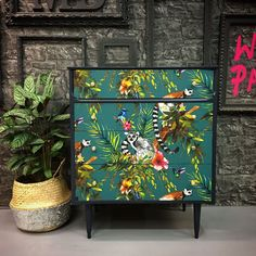 Upcycled vintage chest of drawers made of solid wood. This piece consists of four good… - UPCYCLING IDEAS Upcycled vintage chest of drawers made of solid wood. This piece consists of four good …, # Decoupage Furniture, Funky Furniture, Paint Furniture, Furniture Projects, Furniture Makeover, Vintage Furniture, Furniture Design, Upcycled Furniture, Wallpaper Furniture