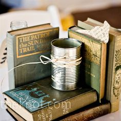 book lover's centerpiece
