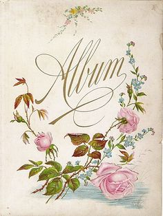 Lovely Color Lithograph Page from Victorian Photo Album Vintage Ephemera, Vintage Paper, Vintage Images, Vintage Posters, Photo Album Covers, Decoupage, Vintage Photo Album, Victorian Photos, Floral Printables