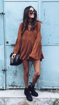 cute street style. boho blouse. studded bag.