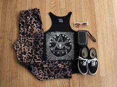 We're getting ready to head to Austin for SXSW. Here's one of the outfits we're packing. Sargent Eye Scuba Tank / Jewels Animal Print Pant / Semirimless Cat Sunglasses / Damini Wallet / Authentics  - women's music festival street style fashion