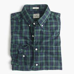J.Crew+-+Secret+Wash+shirt+in+green+plaid+heather+poplin