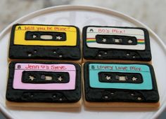 Mix Tape Cookies - you can personalize them to say whatever you like! By whippedbakedshop, $28
