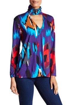 Rachel Pally Turtleneck Front V-Cutout Print Blouse