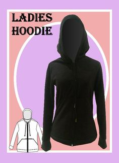 Our ladies hoodie sewing pattern includes sizes xsmall to xxxlarge Our physical (large format printed) patterns are sent to you, ready to cut an Wedding Dress Sewing Patterns, Easy Sewing Patterns, Diy Bralette, Athleisure Fashion, Androgynous Fashion, Knitted Hats, Hoodies, Lady, Ladies Fashion