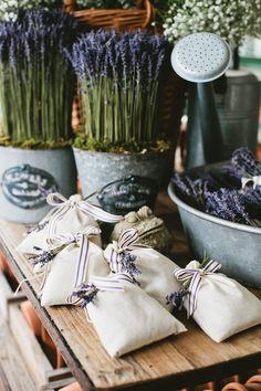 Dried French Lavender cotton muslin sachets - great for lavender confetti or as wedding guest favours!