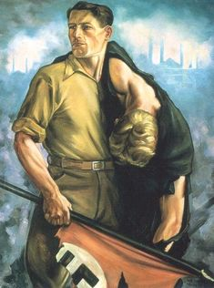 SA Man Rescuing Wounded Comrade In The Street, 1933 // Hermann Otto Hoyer Nazi Propaganda, Germany Ww2, The Third Reich, Beautiful Posters, Dieselpunk, World War Two, Drawing Reference, Wwii, Battle