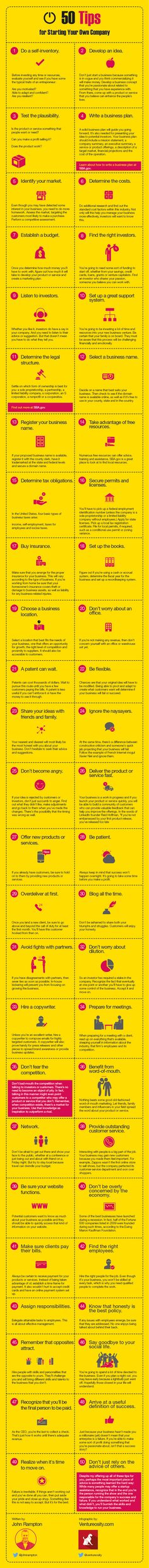 50 tips to Start Your Own Company   #infographics | Loved and pinned by www.misfeldtaccounting.com
