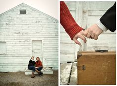 Engagement sessions are at their best when you have a great location.  Photo by Jennifer Johnson Photography  #love #engagement #session #photography #hands #luggage #travel #portrait #posing #wedding #engaged #announcement