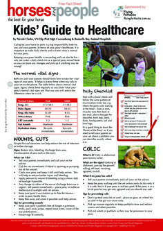 Sheet 1 of 2 - Print out this fantastic fact sheet Kids Guide to Healthcare from Horses and People Magazine, practical advice for kids regarding horse health and includes a terrific school project to make your own equine first aid kit. Print it out and pin it up in your tack room or in a folder for ready reference!