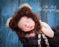 Baby Girl or Boy Newborn Lion Hat Photography Prop Jungle Safari Halloween Costume - Treasured Little Creations