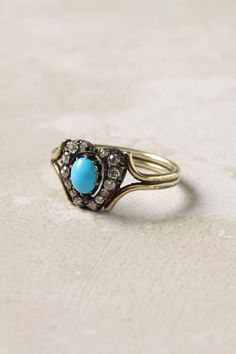 Turquoise and diamond heart-shaped ring