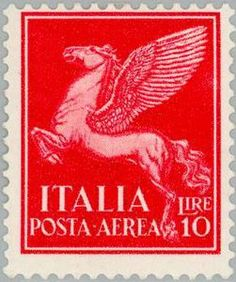 Italian airmail stamp, Allegorical Subjects series 1930, Pegasus (10 Lire) (IT A19)