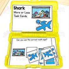 Greater Than Less Than Shark Task Cards - Teaching Autism Autism Teaching, Math Education, Task Boxes, Shark Week, Math Skills, Greater Than, Task Cards, Math Activities, Fish Tank