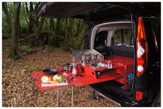 Swiss room in a box. A camping box built into your car that turns into a sink, stove and two cots.