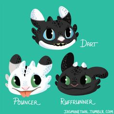 Idk if these names are confirmed canon yet, but on the mobile game School of Dragons this is what they've officially been called! In the game it says Dart (blue eyes) is a girl and Pouncer and Ruffrunner (green eyes) are boys Httyd Dragons, Cute Dragons, Toothless And Stitch, Night Fury Dragon, Cute Disney Drawings, Dragon Rider, Film D'animation, Dragon Pictures, Cute Disney Wallpaper