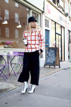 J.W. ANDERSON knit  ZARA pants  H & M hat  CELINE boots