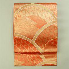 Rokutsu fukuro obi / 朱色地 垣根と流水柄 六通袋帯   #Kimono #Japan http://global.rakuten.com/en/store/aiyama/