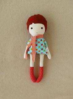 Fabric Doll Rag Doll in Orange Checked Scarf. $33.00, via Etsy.
